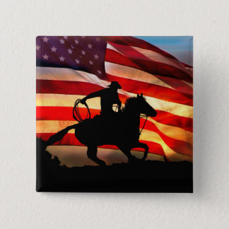 Cowboy and American Flag Flair Button