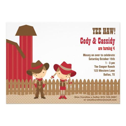 Cowboy and Cowgirl Birthday Invitations Card