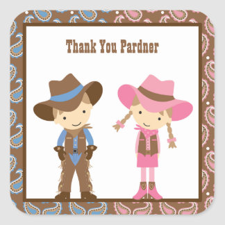 Cowboy and Cowgirl Birthday Stickers