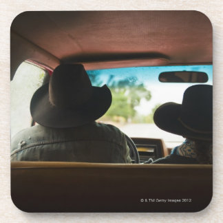 Cowboy and cowgirl in truck beverage coasters