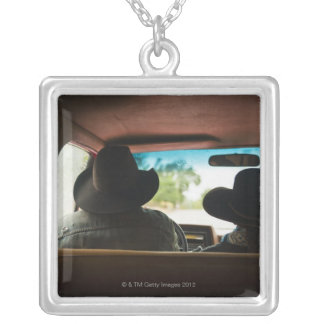 Cowboy and cowgirl in truck square pendant necklace
