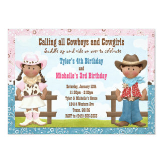 Cowboy and Cowgirl Joint Sibling Birthday Party 13 Cm X 18 Cm Invitation Card