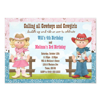 Cowboy and Cowgirl Joint Sibling Birthday Party Cards