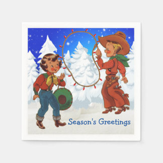 Cowboy And Cowgirl Kids Winter Party Napkins Paper Napkin