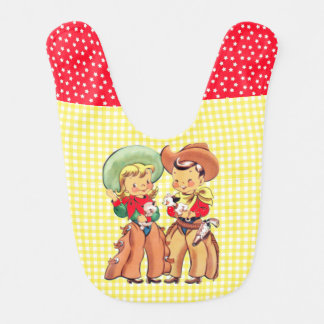 Cowboy And Cowgirl Kids   Yellow  Check Background Bib