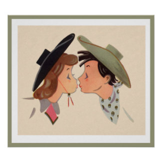 Cowboy and Cowgirl Kissing Print