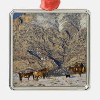 Cowboy and Cowgirl on Horses watching Herd Silver-Colored Square Decoration