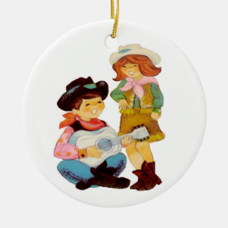 Cowboy and Cowgirl Singers Christmas Ornament