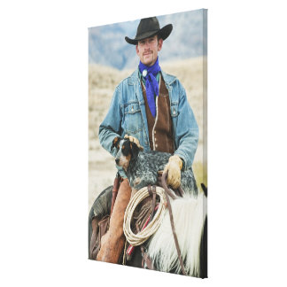 Cowboy and dog on horse gallery wrap canvas
