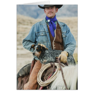 Cowboy and dog on horse greeting card