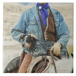 Cowboy and dog on horse large square tile