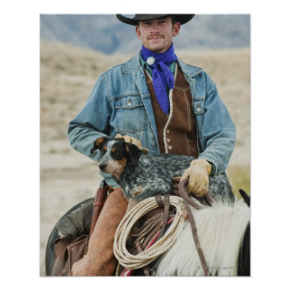 Cowboy and dog on horse print