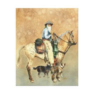 Cowboy and his Appaloosa Canvas print