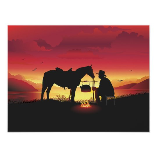 Cowboy and Horse at Sunset Poster