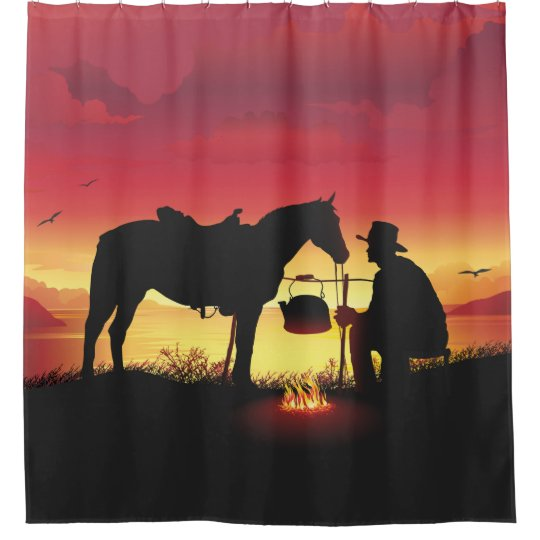 Cowboy and Horse at Sunset Shower Curtain