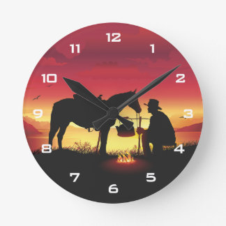 Cowboy and Horse at Sunset Wall Clock