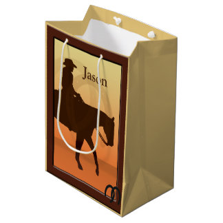 Cowboy and Horse Horseback Design MGB Medium Gift Bag