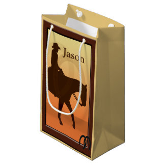 Cowboy and Horse Horseback Design SGB Small Gift Bag