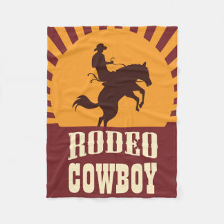 Cowboy and Horse Rodeo Sunset Fleece Blanket
