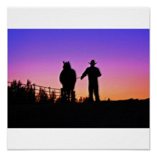 Cowboy and Horse Sunset Poster