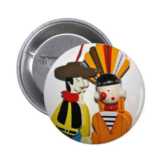 Cowboy and Indian Novelty Toy Button Badge