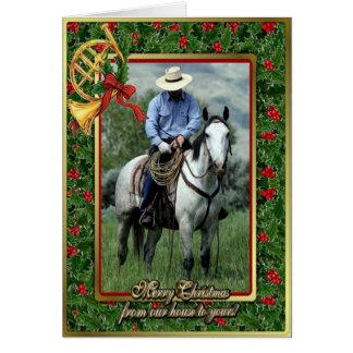 Cowboy And Quarter Horse Blank Christmas Card