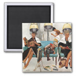 Cowboy Asleep in Beauty Salon Square Magnet