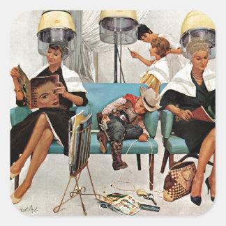 Cowboy Asleep in Beauty Salon Square Sticker