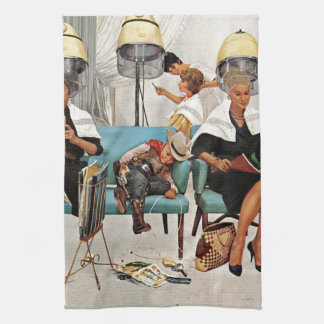 Cowboy Asleep in Beauty Salon Tea Towel