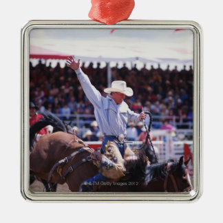 Cowboy at a Rodeo Silver-Colored Square Decoration