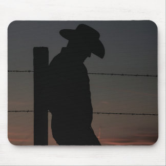 Cowboy at sunset mouse pad