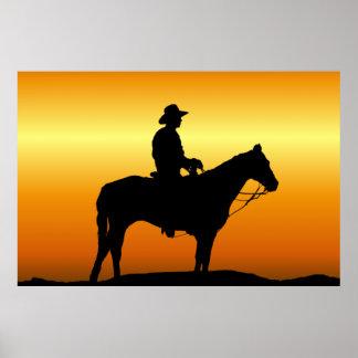 Cowboy at Sunset Wall Mural Poster