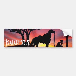 Cowboy at the cross western Christian Bumper Stick Bumper Sticker