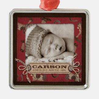 Cowboy Baby Photo Ornament