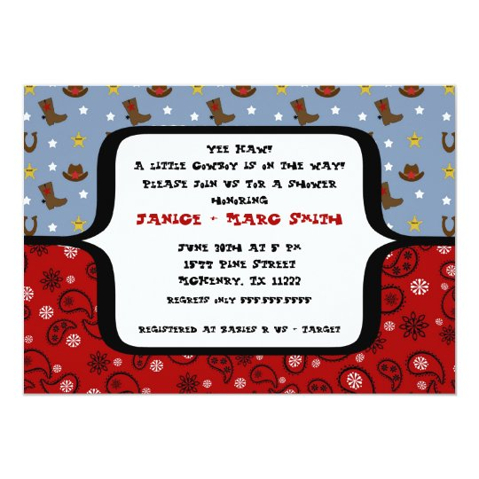 Cowboy Baby Shower Invitation Bandanna Red Blue