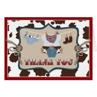 Cowboy Baby Western Thank You Card