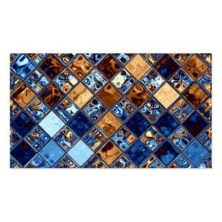 Cowboy Bandana Blue Mosaic Pattern Original Art Business Cards