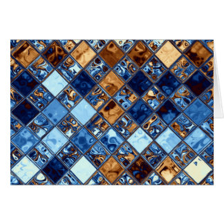 Cowboy Bandana Blue Mosaic Pattern Original Art Card