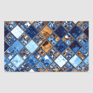Cowboy Bandana Blue Mosaic Pattern Original Art Rectangular Sticker