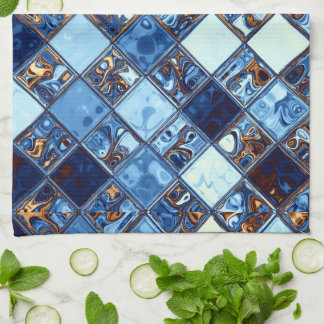 Cowboy Bandana Blue Mosaic Pattern Original Art Tea Towel