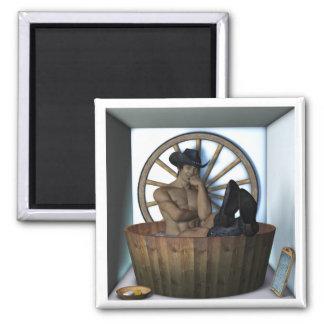 Cowboy Bath Square Magnet