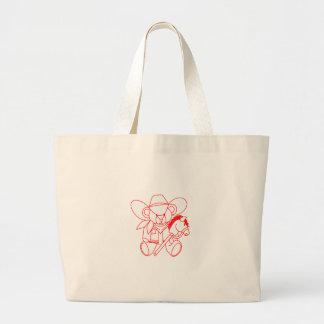 Cowboy Bear Redwork Jumbo Tote Bag