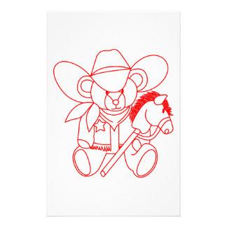Cowboy Bear Redwork Personalized Stationery