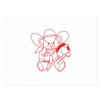 Cowboy Bear Redwork Postcard