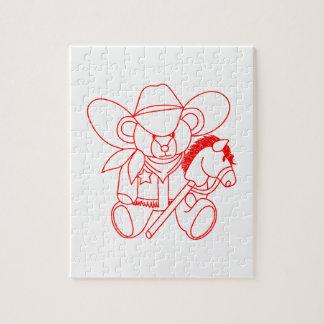 Cowboy Bear Redwork Puzzles