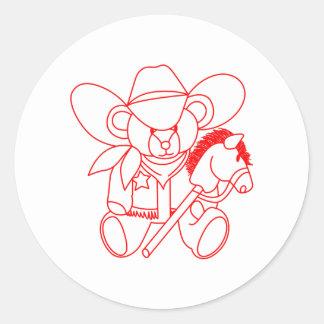 Cowboy Bear Redwork Round Sticker