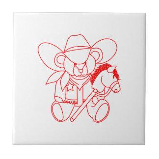 Cowboy Bear Redwork Small Square Tile