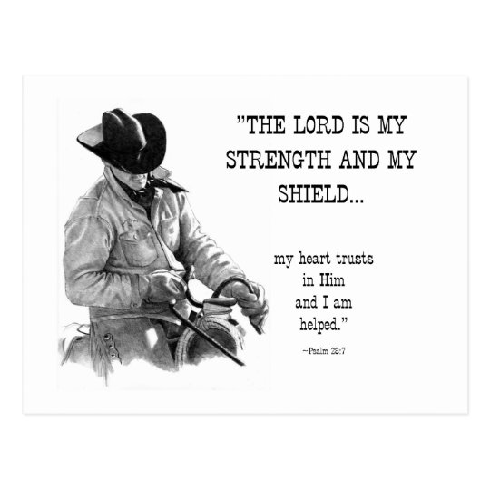 COWBOY: BIBLE: STRENTGH, SHIELD: PENCIL REALISM POSTCARD