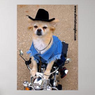 Cowboy Biker Dog Poster