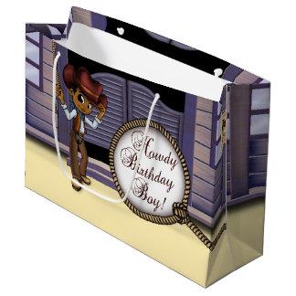 Cowboy Birthday Gift Bag - Large, Glossy Large Gift Bag